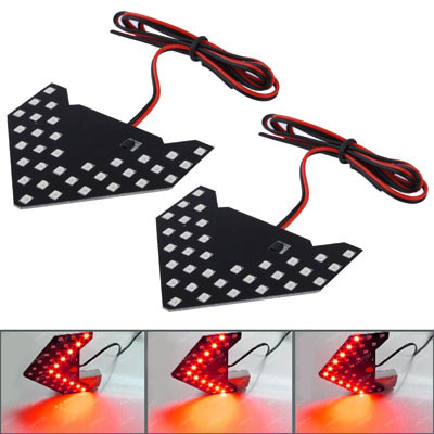 Buy Universal Amber Sequential Red 33 LED 3528 SMD Arrows Light for Car Side Mirror Turn Signal, Pairs for $4.17 in SUNSKY store