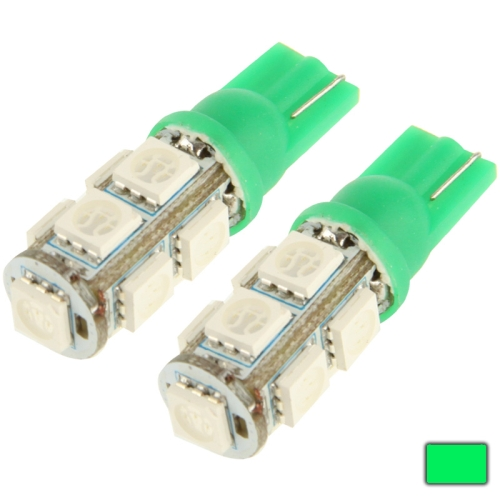 Buy T10 Green 9 LED 5050 SMD Car Signal Light Bulb, Pair, Green for $1.08 in SUNSKY store
