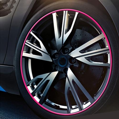 Universal Decorative Scratchproof Stickup 8M Flexible Car Wheel Hub TRIM Mouldings Decoration Strip(Pink)