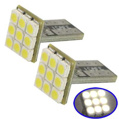 T10 White 9 LED 3528 SMD Car Signal Light Bulb, Pair