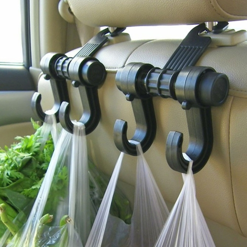 KANEED 2 PCS Car Vehicle Multi-functional Seat Headrest Bag Hanger Hook Holder Seat Headrest Hanger Hanging Holder Double Hooks