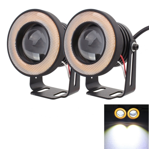 Buy 2 PCS 2.5 inch 10W 900LM White + Yellow Light 6500K Waterproof LED Eagle Eye Light for Vehicles, DC 12V, Cable Length: 20cm, Black for $10.19 in SUNSKY store
