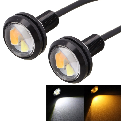 Buy 2 PCS 22.5mm 2W 200LM White + Yellow Light 4 LED SMD 5630 Eagle Eye Car Steering Light Daytime Running Light, Black for $1.88 in SUNSKY store