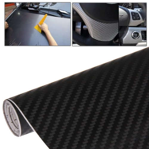 Car Decorative 3D Carbon Fiber PVC Sticker, Size: 127cm x 50cm(Black)
