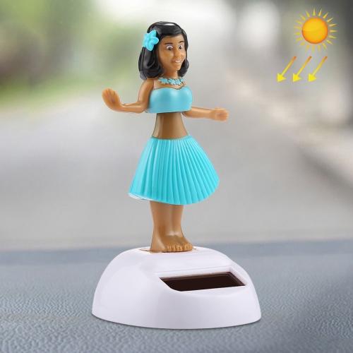 Solar Powered Bobble Head Dancing Toy Car Decoration Ornament Cute Hula Princess(Blue)