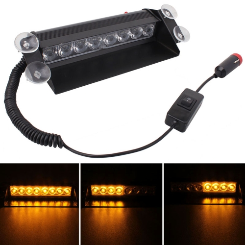 Buy 8W 800LM 8-LED Yellow Light 3-Modes Adjustable Angle Car Strobe Flash Dash Emergency Light Warning Lamp with Suckers, DC 12V for $4.46 in SUNSKY store