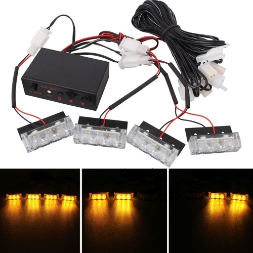 4x3 LED Car Front Grille Police Warning Lights Yellow Flashing Waterproof Emergency Strobe Light Lamp, DC 12V, Pack of 4
