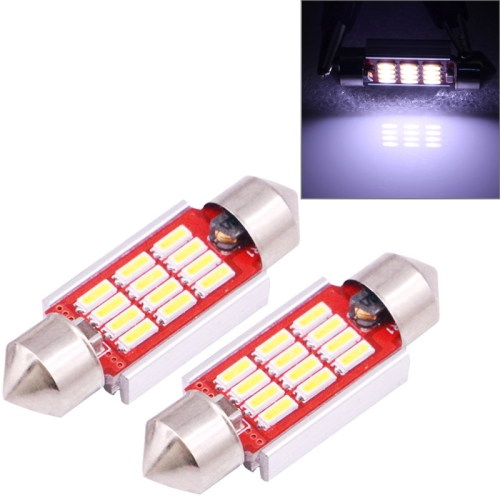 2 PCS 36mm 3.5W 180LM White Light 12 LED SMD 4014 CANBUS License Plate Reading Lights Car Light Bulb