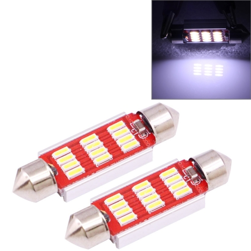Buy 2 PCS 39mm 3.5W 180LM White Light 12 LED SMD 4014 CANBUS License Plate Reading Lights Car Light Bulb for $2.16 in SUNSKY store