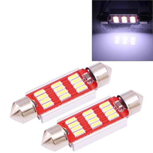 Buy 2 PCS 41mm 3.5W 180LM White Light 12 LED SMD 4014 CANBUS License Plate Reading Lights Car Light Bulb for $2.16 in SUNSKY store