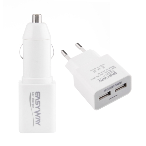 Buy 5V 2.1A 2 in 1 EU Plug 2 USB Ports Charger + 5V 3A 2 USB Ports Car Charger Adapter for $5.34 in SUNSKY store
