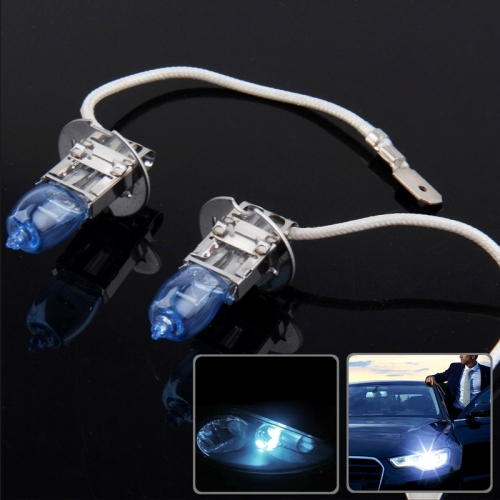 HOD H3 Halogen Bulb, Super White Car Headlight Bulb, 12 V / 100W, 6000K 2400 LM (Pair)