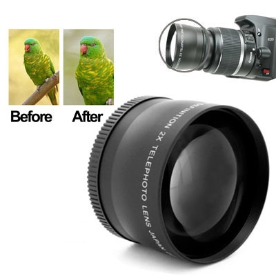 Buy 2X 58mm Professional Telephoto Lens for Canon 350D / 400D / 450D / 500D / 1000D / 550D / 600D / 1100D, Black for $10.11 in SUNSKY store