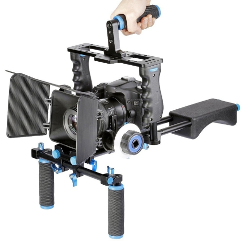 Buy YELANGU YLG1103A-A Dual Handles Camera Shoulder Mount + Camera Cage Stabilizer Kit with Matte Box for DSLR Camera / Video Camera for $120.54 in SUNSKY store