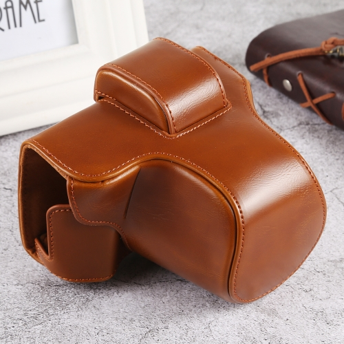 Oil Skin PU Leather Camera Full Body Case Bag with Strap for Olympus EM10 III(Brown)