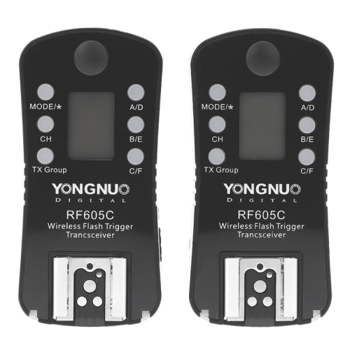 YONGNUO RF605C 2X Camera Wireless Flash Trigger with 2X LS-2.5 Shutter Connecting Cable for Canon Camera Flash Trigger Black