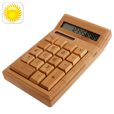 12 Digits Natural Bamboo Solar Electronic Calculator, Size: 163mm x 94mm x 25mm