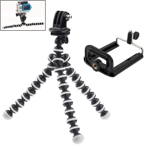 YKD-114 2 in 1 Flexible Tripod with Mount Adapter + Phones Mount Adapter Set for GoPro NEW HERO / HERO7 /6 /5 /5 Session /4 Session /4 /3+ /3 /2 /1, Xiaoyi and Other Action Cameras, Mobile Phone