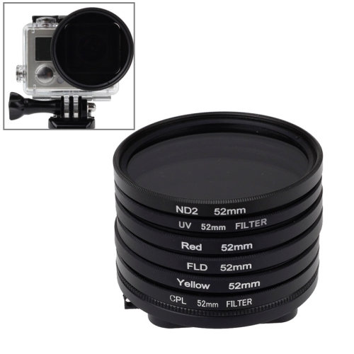 Buy 6 in 1 52mm ND2 Lens Filter + UV Lens Filter + Red Filter + FLD Filter + Yellow Filter + CPL Filter + Filter Adapter Ring for GoPro HERO4/ 3+ for $15.17 in SUNSKY store