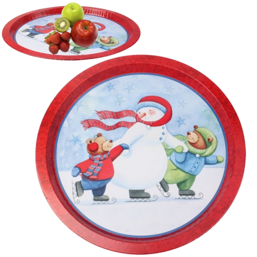 Buy Snowman Pattern Multi-purpose Round Tray Fruit Bowl Dessert Plate for $2.16 in SUNSKY store