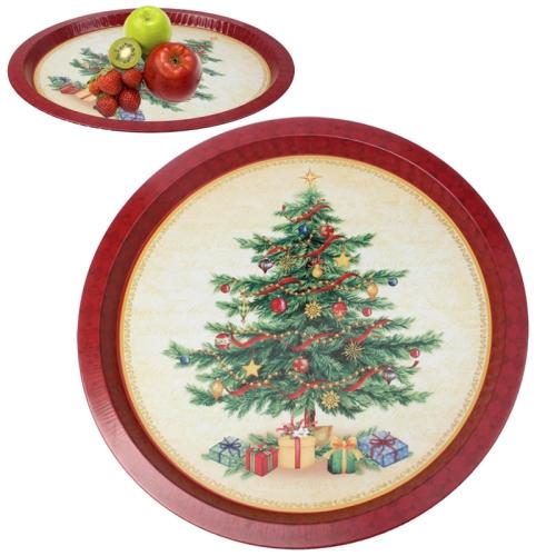 Christmas Tree Pattern Multi-purpose Round Tray Fruit Bowl Dessert Plate