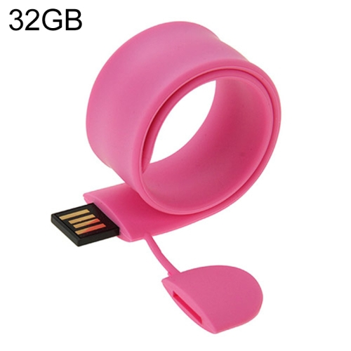 Silicone Bracelet USB Flash Disk with 32GB Memory, Pink