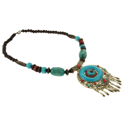 Bohemia Style Sweater Necklace Wood Beads Long Necklace