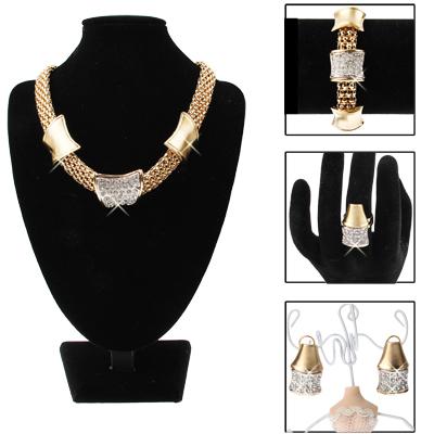 Buy Golden Alloy Diamond Jewelry Set (Necklace + Earrings + Bracelet + Ring) for $6.10 in SUNSKY store