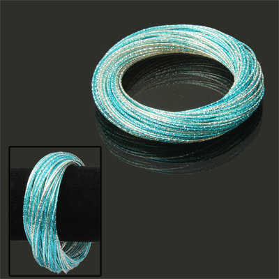 Buy 60-circle Design Cuff Bangle Bracelet Wrist Decoration Jewelry  (Blue + Silver ) for $3.13 in SUNSKY store