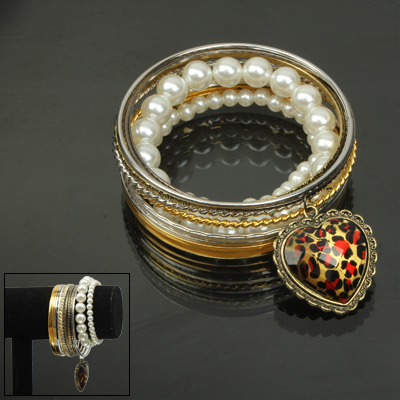 Buy 13-circle Design Cuff Bangle Bracelet Wrist Decoration Jewelry with a Heart Shape Pendant for $1.62 in SUNSKY store