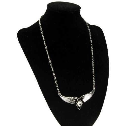 Buy Angel Wings Rhinestone Encrusted Necklace, Silver for $3.25 in SUNSKY store