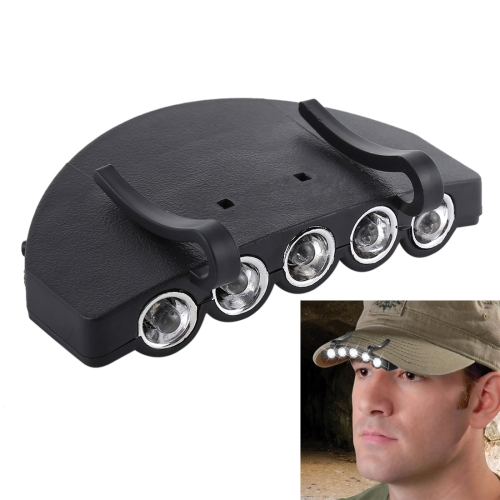 Head Light Lamp Cap Torch Bulb, 5 LED White Light, for Outdoor Fishing Camping Hunting(Black)
