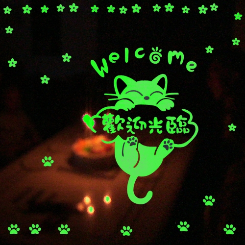 Flower and Lovely Cat Pattern Fluorescent Self-adhesive Wall Stickers for Home Decoration, Size: 40cm x 30cm