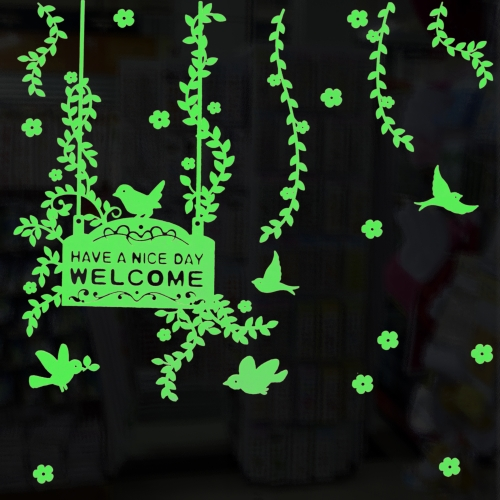 Buy Flower and Bird Pattern Fluorescent Self-adhesive Wall Stickers for Home Decoration, Size: 40cm x 30cm for $2.48 in SUNSKY store