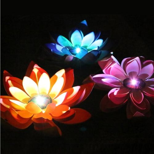 Solar Power Floating LED Waterproof Lotus Flower Lamp Light with Solar Panel, 1 Solar Panel with 3 Lotus Flower Lamps