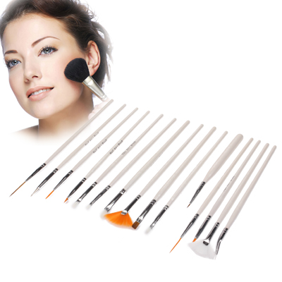 Buy 15pcs Beauty Professional Make-up Brushes Travel Cosmetic Brushes Set, White for $5.66 in SUNSKY store