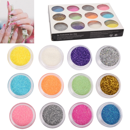 12xColorful Sparkly Colors Boxed Crushed Shell Powder Nail Art Tip Decoration