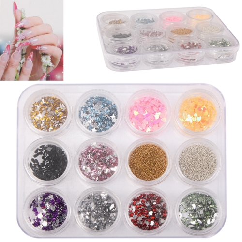 Buy 12 PCS Colorful Sparkly Colors Boxed Crushed Shell Powder Nail Art Tip Decoration for $2.43 in SUNSKY store