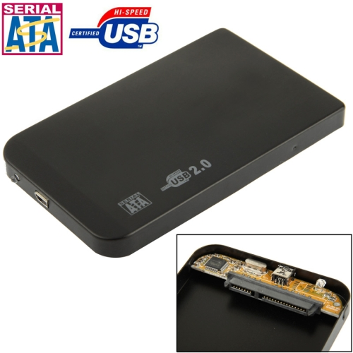 2.5 inch SATA HDD External Case, Size: 126mm x 75mm x 13mm (Black)