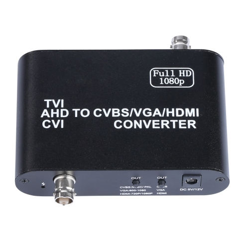 Full HD 1080P TVI / AHD / CVI to CVBS / VGA / HDMI Video Converter, Upgraded Version, Support AHD Signal 500m, DC 5-12V, US Plug / EU Plug / UK Plug(Black) upgraded version dts ac3 to analog 5 1 audio decoder converter black us plug
