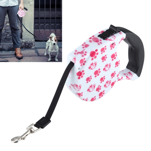 Buy 5m Pink Dog Footprint Pattern Easy Operation Retractable Dog Leash, Pink for $4.31 in SUNSKY store