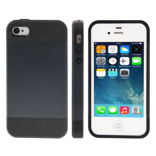 Tough Armor Plastic + TPU Combination Case for iPhone 4 & 4S, Black