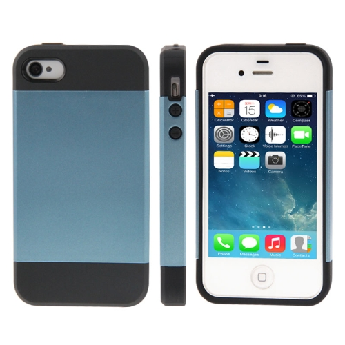 Buy Tough Armor Plastic + TPU Combination Case for iPhone 4 & 4S (Dark Blue) for $1.46 in SUNSKY store