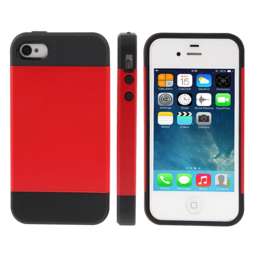 Tough Armor Plastic + TPU Combination Case for iPhone 4 & 4S, Red