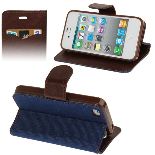 Buy Denim Texture Horizontal Flip Leather Case with Holder & Credit Card Slots for iPhone 4 & 4S (Dark Blue) for $2.06 in SUNSKY store