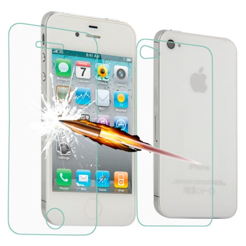 Angibabe 0.3mm 2 in 1 Ultra-thin Explosion-proof Tempered Front + Back Glass Film for iPhone 4 & 4S