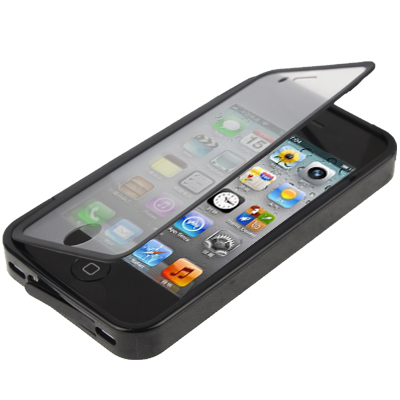 Buy Pure Colour Horizontal Flip TPU Protective Case for iPhone 4 / 4S, Black for $2.66 in SUNSKY store