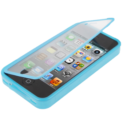 Pure Colour Horizontal Flip TPU Protective Case for iPhone 4 / 4S, Blue