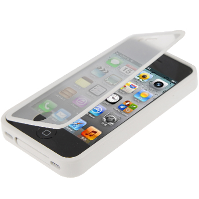 Buy Pure Colour Horizontal Flip TPU Protective Case for iPhone 4 / 4S, White for $2.66 in SUNSKY store