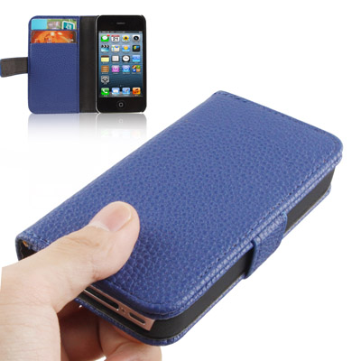 Buy Litchi Texture Horizontal Flip Leather Case with Card Slots & Holder for iPhone 4 & 4S (Dark Blue) for $2.23 in SUNSKY store